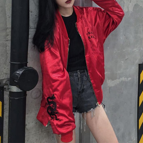 Korea Red Dragon Long Loose Bomber Jacket SD01794