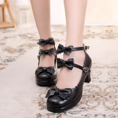 Ruffle Strap Bow Shoes SD00785 - SYNDROME - Cute Kawaii Harajuku Street Fashion Store