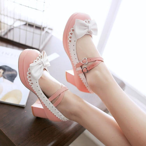 Harajuku Japanese Bow Lace Heart Strap Short Heels Shoes SD01997