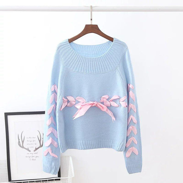 Pastel Ribbon Knitted Sweater SD00295 - SYNDROME - Cute Kawaii Harajuku Street Fashion Store