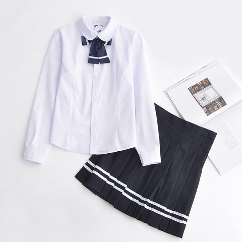 Japanese White Blouse Dark Blue Bow Long Sleeved School Uniform + Skirt [S/XXXL] SD00203