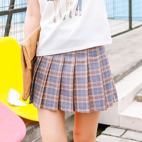 Cute grid pleated skirt SD00628