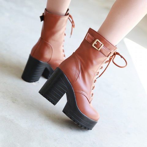 Korean Winter Thick Strap high-heeled boots Shoes SD01149