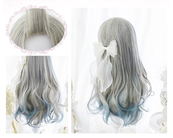 Grey Blue Gradient Curly Long Wig SD00182 - SYNDROME - Cute Kawaii Harajuku Street Fashion Store