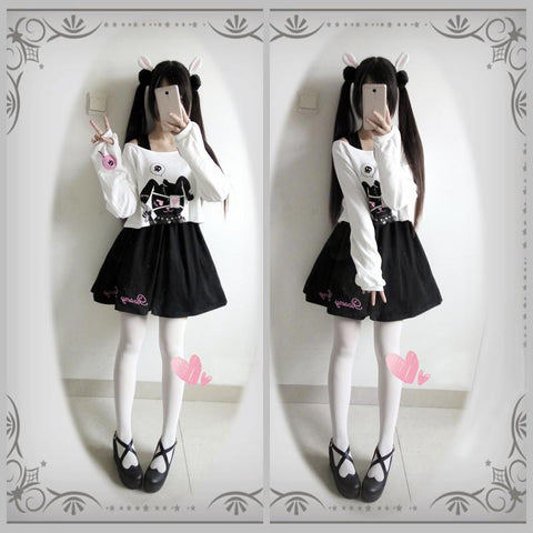 Bunny Eye patch Skirt Sweater Set SD00740 - SYNDROME - Cute Kawaii Harajuku Street Fashion Store
