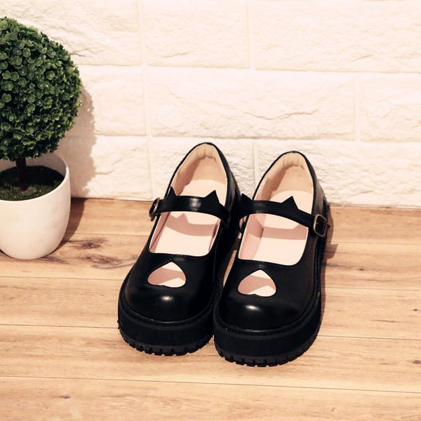 Japanese Fashion Lolita Heart Hollow Kitty Ear Shoes SD00991 - SYNDROME - Cute Kawaii Harajuku Street Fashion Store