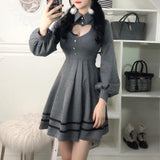 Heart Keyhole Hollow Cut Out Chest Lantern Sleeve Dress SD01286