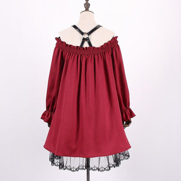 Red Shoulder Ruffle Lace Dress SD00478