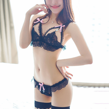 38fc540c227d8 Japanese Erotic Sexy Lace Pearl Ribbon Lingerie Set SD00081 ...