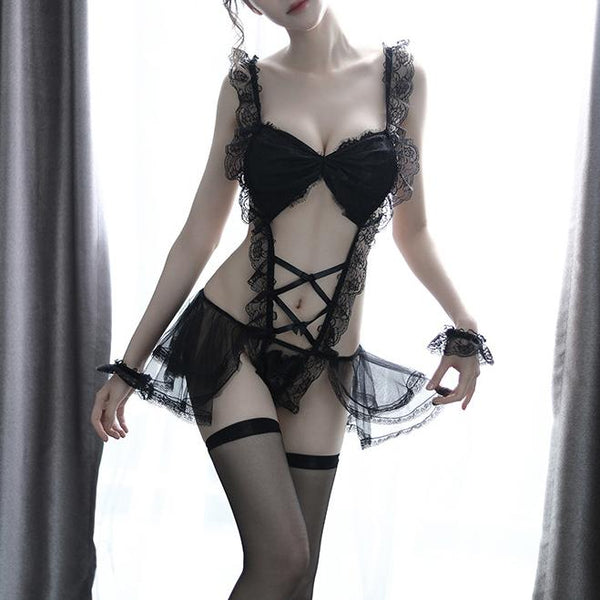 Korean Sexy Black/White Lace See Through Skirt Ribbon Lingerie SD01830