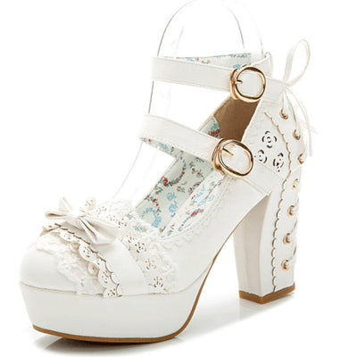 Japanese Lolita Sweet Bow Lace Strap corset High-heel Shoes Ver.1 SD00206
