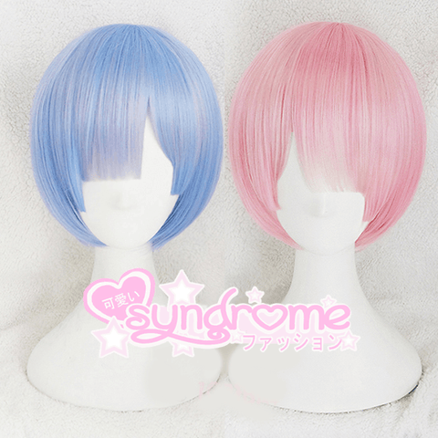 Rem and Ram Short Curved Cosplay Blue and Pink Cosplay Re:Zero ReZero Wig SD00912