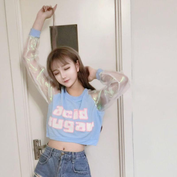 Acid Sugar Pastel Transparent Sleeve Crop Top SD00710 - SYNDROME - Cute Kawaii Harajuku Street Fashion Store
