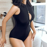 Open Zipper Keyhole Chest Swimsuit SD00781