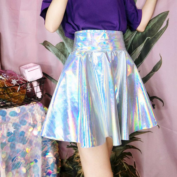 Holographic Laser Plaid Skirt SD00882