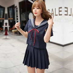 Japanese Navy Blue Red Ribbon Bow Sailor School Uniform Set SD01976 - SYNDROME - Cute Kawaii Harajuku Street Fashion Store