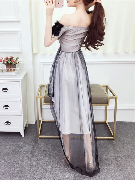 Mesh Sheer Lace Long Shoulder-less Elegant Dress SD00540