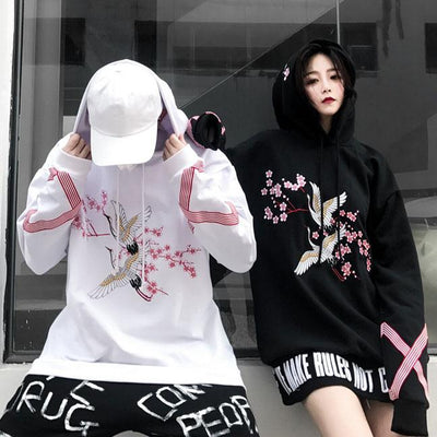 Cherry Blossom Stork Loose Hoodie Sweater SD00289 - SYNDROME - Cute Kawaii Harajuku Street Fashion Store