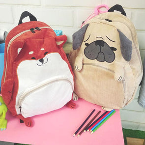 Pug Puppy Dog and Fox School Backpack SD45826