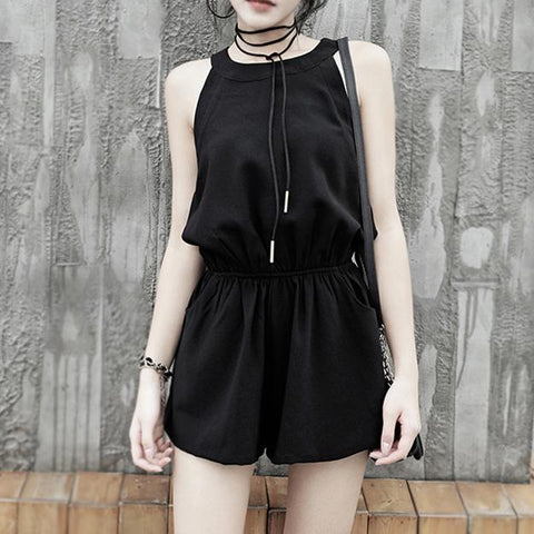 Black Casual Short Jumpsuit SD00251 - SYNDROME - Cute Kawaii Harajuku Street Fashion Store