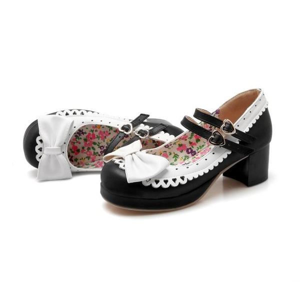 Harajuku Japanese Bow Lace Heart Strap Short Heels Shoes SD01997 - SYNDROME - Cute Kawaii Harajuku Street Fashion Store