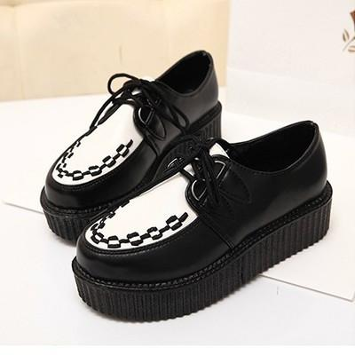 Black White Top Platform Creepers Shoes Ver.4 SD00164 - SYNDROME - Cute Kawaii Harajuku Street Fashion Store