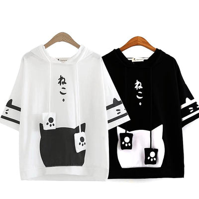 Neko Atsume Hoodie T-shirt SD00268 - SYNDROME - Cute Kawaii Harajuku Street Fashion Store