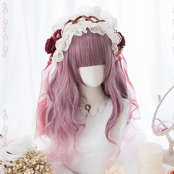 Red Purple Gradient Curly Long Wig SD00179