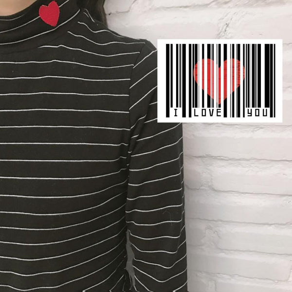 Cute Embroidered Heart Stripped Long-sleeved T-shirt SD02022 - SYNDROME - Cute Kawaii Harajuku Street Fashion Store