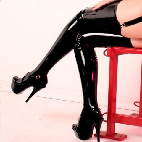 Japanese Sexy Black Faux Leather Wet Look Vinyl Stockings SD01009