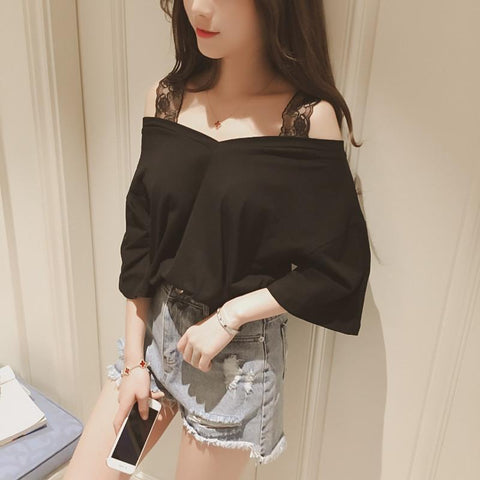 Korean Summer Wide Lace Strap Top Shirt SD02449