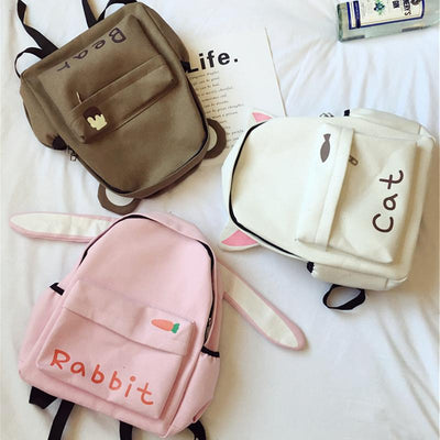 Animal Ears Canvas Backpack SD00797 - SYNDROME - Cute Kawaii Harajuku Street Fashion Store