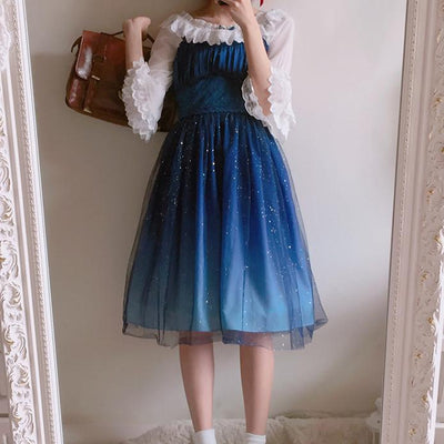 Blue Galaxy Stars Dress SD01057 - SYNDROME - Cute Kawaii Harajuku Street Fashion Store