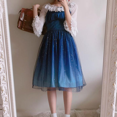 Japanese harajuku galaxy stars gradient blue short dress SD02294