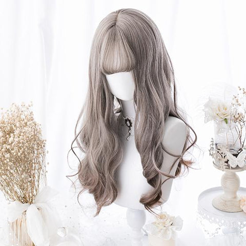 Grey Gradient Curly Long Wig SD00180 - SYNDROME - Cute Kawaii Harajuku Street Fashion Store