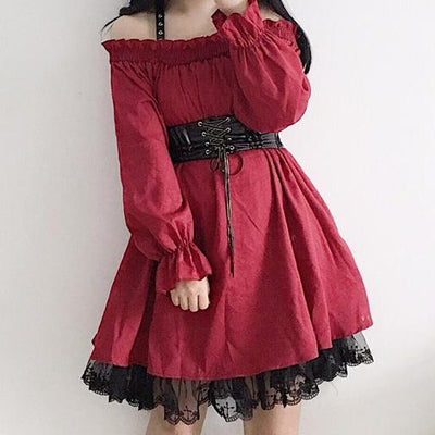 Red Shoulder Ruffle Lace Dress SD00478 - SYNDROME - Cute Kawaii Harajuku Street Fashion Store