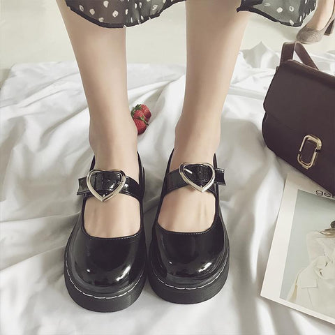 Japanese Harajuku Black Lolita Heart Buckle Shoes SD01495