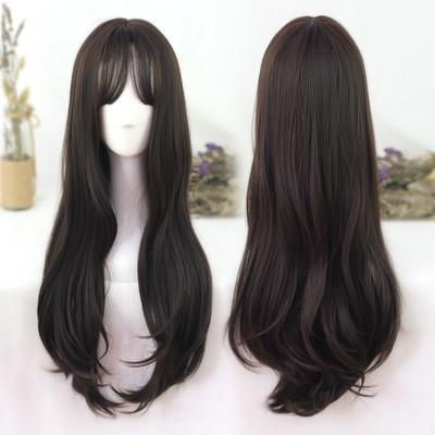 Pre -sale Harajuku Japanese Kawaii Lolita Long Dark Brown Fashion Wig SD02016