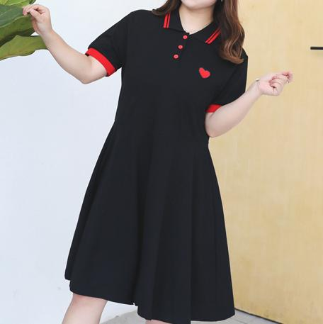 Black Polo Heart Embroidered Dress SD00384 - SYNDROME - Cute Kawaii Harajuku Street Fashion Store