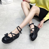 Lolita Black Strings Bow Shoes SD00189