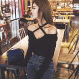 Korean V Collar Shoulder less Shirt SD01431
