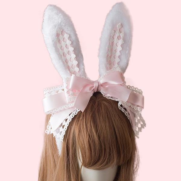 Elegant Bunny Bow Ears Headband SD00328 - SYNDROME - Cute Kawaii Harajuku Street Fashion Store