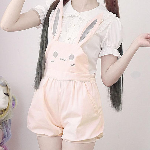Bunny Bear Strap Trousers Short Pants/Skirt SD00277 - SYNDROME - Cute Kawaii Harajuku Street Fashion Store