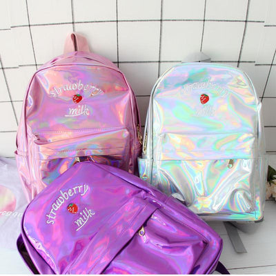 Holographic Strawberry Milk Backpack SD01728 - SYNDROME - Cute Kawaii Harajuku Street Fashion Store