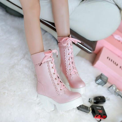Harajuku Japanese Lace High Heel Boots SD01995 - SYNDROME - Cute Kawaii Harajuku Street Fashion Store