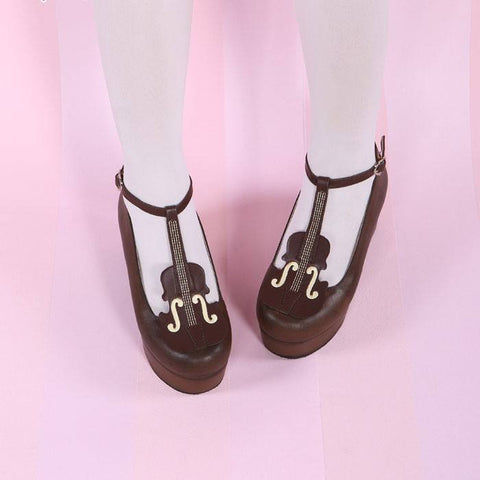 Japanese Kawaii Violin Strap High-Heeled Shoes