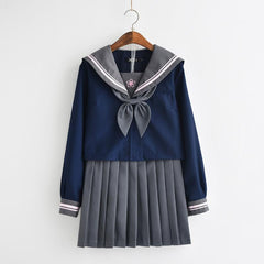 Japanese blue navy sailor flower embroidered school uniform t-shirt/skirt SD00841 - SYNDROME - Cute Kawaii Harajuku Street Fashion Store