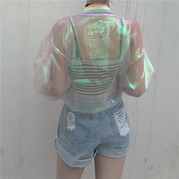Harajuku transparent organza rainbow jacket SD00605 - SYNDROME - Cute Kawaii Harajuku Street Fashion Store