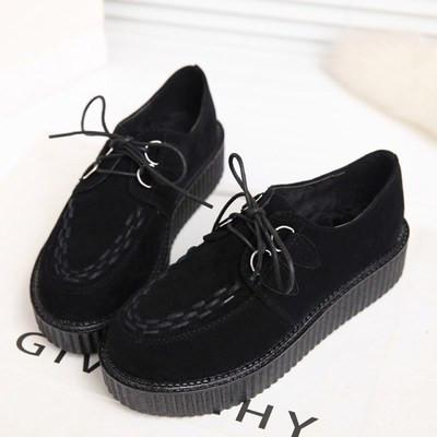 Black Suede Platform Creepers Shoes SD00168 - SYNDROME - Cute Kawaii Harajuku Street Fashion Store