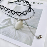 Cute black heart necklace SD02143 - SYNDROME - Cute Kawaii Harajuku Street Fashion Store